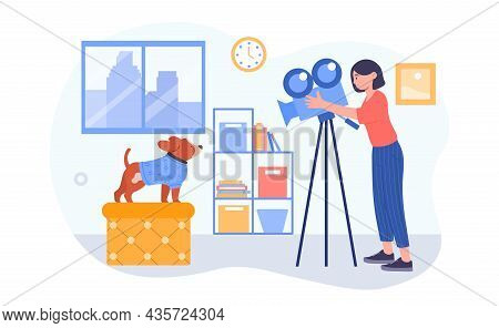 Photographer Makes Pictures Concept. Woman Takes Off Small Dog On Camera. Female Character Takes Vid
