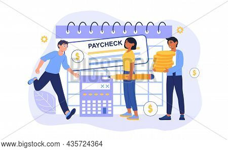 People Get Paycheck Concept. Men And Women Receive Wages In Form Of Deposit. Characters Sign And Cas