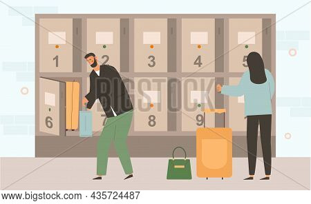 Baggage Storage Concept. Man And Woman Put Their Suitcases In Special Storage Cells With Individual