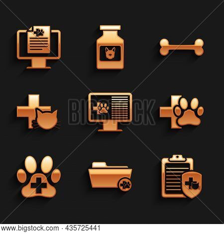 Set Clinical Record Pet On Monitor, Medical Veterinary Folder, , Veterinary Clinic, And Icon. Vector
