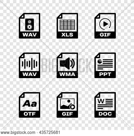 Set Wav File Document, Xls, Gif, Otf, And Doc Icon. Vector