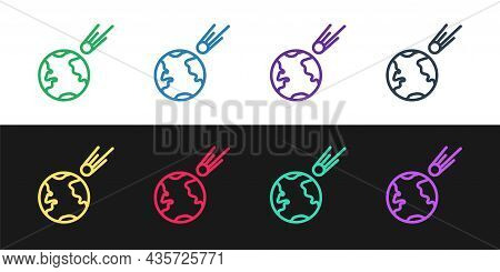 Set Line Comet Falling Down Fast Icon Isolated On Black And White Background. Vector Illustration