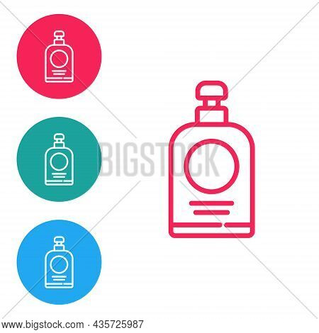 Red Line Hand Sanitizer Bottle Icon Isolated On White Background. Disinfection Concept. Washing Gel.