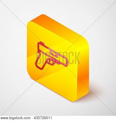 Isometric Line Pistol Or Gun Icon Isolated On Grey Background. Police Or Military Handgun. Small Fir