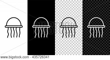 Set Line Jellyfish Icon Isolated On Black And White Background. Vector.