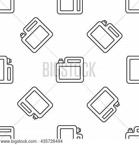 Grey Line Canister For Motor Machine Oil Icon Isolated Seamless Pattern On White Background. Oil Gal