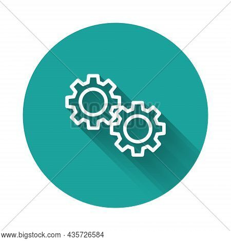 White Line Gear Icon Isolated With Long Shadow. Cogwheel Gear Settings Sign. Cog Symbol. Green Circl