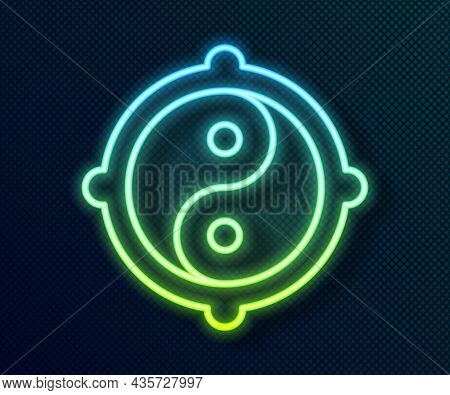 Glowing Neon Line Yin Yang Symbol Of Harmony And Balance Icon Isolated On Black Background. Vector