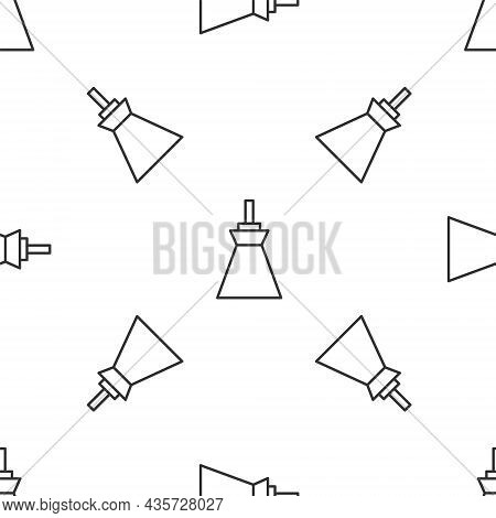 Grey Line Lamp Hanging Icon Isolated Seamless Pattern On White Background. Ceiling Lamp Light Bulb.