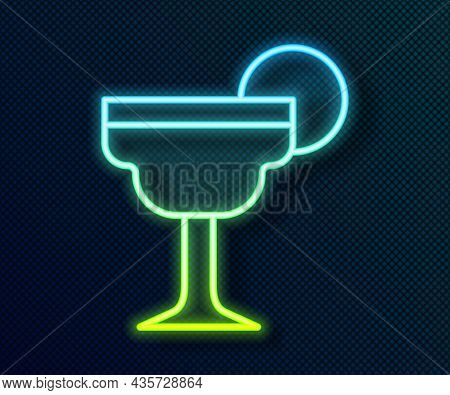 Glowing Neon Line Margarita Cocktail Glass With Lime Icon Isolated On Black Background. Vector