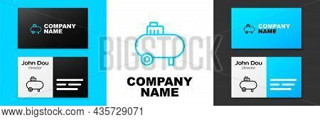 Blue Line Air Compressor Icon Isolated On White Background. Logo Design Template Element. Vector
