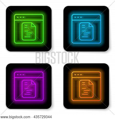 Glowing Neon Line Software, Web Developer Programming Code Icon Isolated On White Background. Javasc