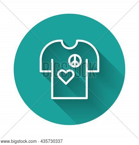 White Line Peace Symbol T-shirt Print Stamp Icon Isolated With Long Shadow Background. Green Circle
