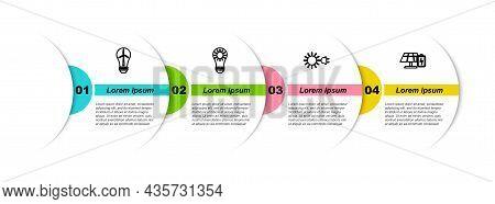 Set Line Light Bulb With Wind Turbine, Solar Energy Panel, Sun Electric Plug And And Battery. Busine