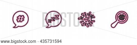 Set Line Hashtag Speech Bubble, Bacteria, Speech With Snoring And Microorganisms Under Magnifier Ico