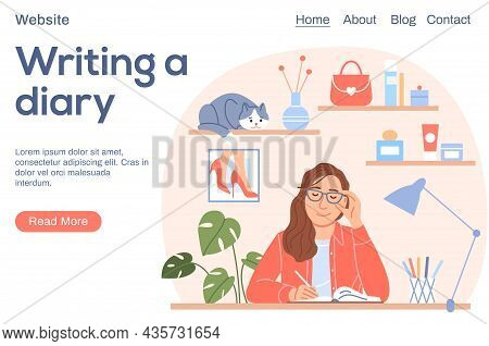 Writing A Diary Or Journal Landing Page. Girl Diary Concept. Smiling Beautiful Woman With Pen Writes