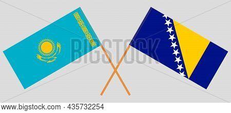 Crossed Flags Of Bosnia And Herzegovina And Kazakhstan