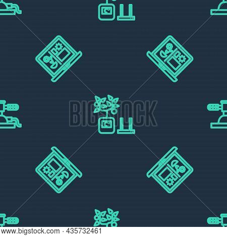 Set Line Smart Farming Technology, And Automatic Irrigation Sprinklers On Seamless Pattern. Vector
