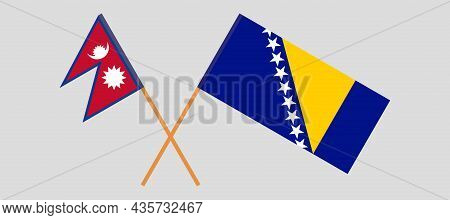 Crossed Flags Of Bosnia And Herzegovina And Nepal
