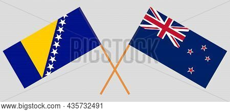 Crossed Flags Of Bosnia And Herzegovina And New Zealand