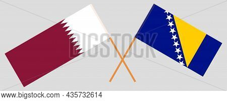 Crossed Flags Of Qatar And Bosnia And Herzegovina
