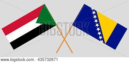 Crossed Flags Of Bosnia And Herzegovina And Sudan