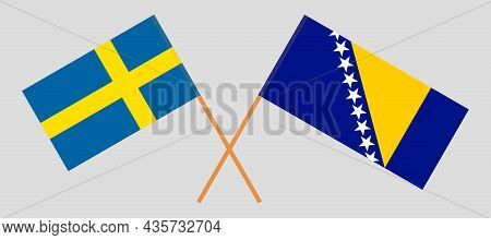 Crossed Flags Of Bosnia And Herzegovina And Sweden