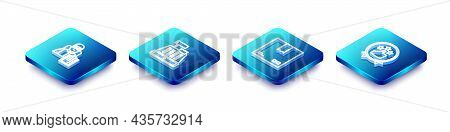 Set Isometric Line Delivery Man With Cardboard Boxes, Cash Register Machine, Cardboard Traffic Symbo