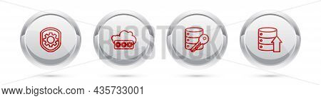 Set Line Shield With Settings Gear, Password Protection, Server Security Key And Server, Data, Web H