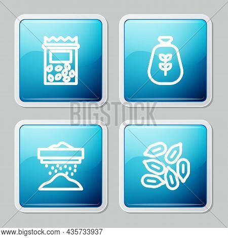 Set Line Pack Full Of Seeds Of Plant, Bag Flour, Sifting And Seed Icon. Vector
