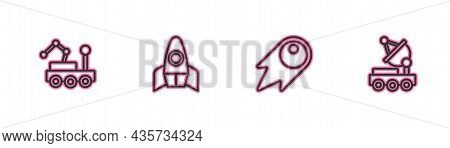 Set Line Mars Rover, Comet Falling Down Fast, Rocket Ship And Icon. Vector
