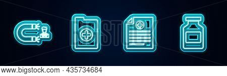 Set Line Customer Attracting, Clinical Record, And Medicine Bottle. Glowing Neon Icon. Vector