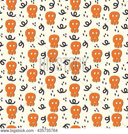 A Pattern With A Scary Skull Face For Halloween Day. The Substrate Is In Black And Orange Autumn Col
