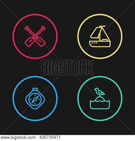 Set Line Compass, Seagull Sits On Buoy, Yacht Sailboat And Paddle Icon. Vector