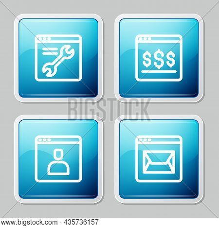 Set Line Browser Setting, Online Shopping On Screen, Create Account And Website And Mail Icon. Vecto