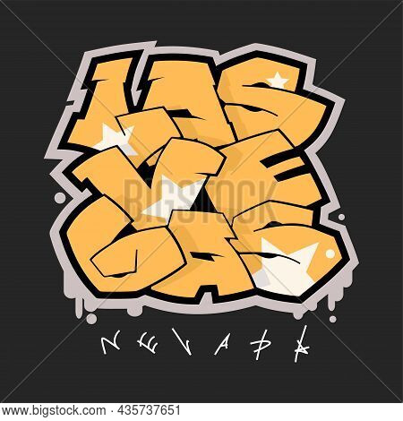 Las Vegas Nevada Graffiti Style Hand Drawn Lettering. Can Be Used For Printing On T Shirt And Souven
