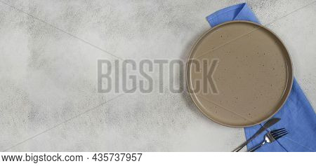 Ceramic Dish Plate Banner With Copy Space Text And Empty Space For Design, Cooking And Food Concept,