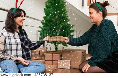 Giving Presents. Smiling Young Woman Gives A Wrapped Gift To Her Sister Next To Christmas Tree Weari