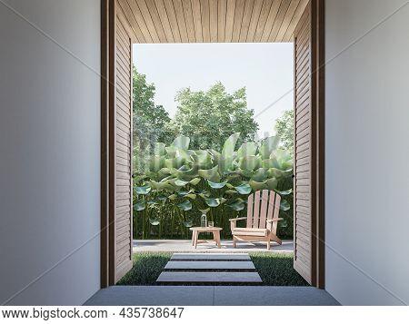 Open Wooden Door To Tropical Style Green Garden 3d Render There Have Concrete Tile Floors ,wooden Pl