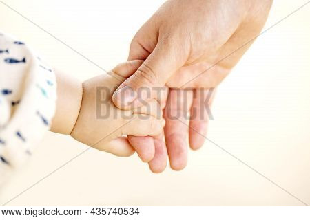 Family Scene , Closeup Parent And Baby Holding Hands Together Outdoors On White Background.
