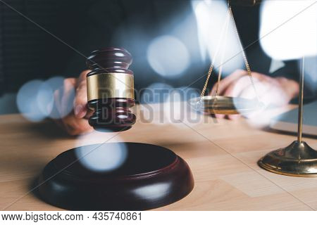 Male Judge In A Courtroom With The Gavel On Office Desk, Terrorism, Crime, Judgment, Verdict, Justic