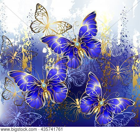 Composition Of Three And Gold Jewelry Butterflies, Precious, Blue, Sapphire Butterflies On Picturesq