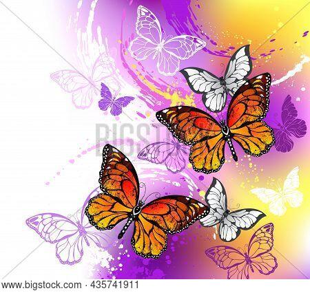 Orange, Detailed Monarch Butterflies On Light, Purple, Picturesque, Painted Background.