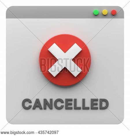 3D Illustration Of Cancel Notification Icon Isolated. Useful For Website Or App Design Illustration.