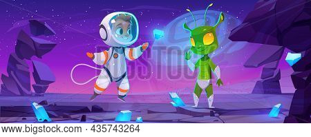 Cute Spaceman And Alien Characters On Planet At Night. Vector Cartoon Landscape With Rocks, Blue Cry