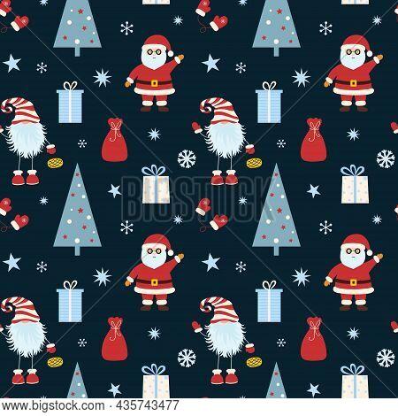 Christmas Seamless Pattern With Santa Claus, Gifts, Christmas Tree, Scandinavian Gnome And Snowflake