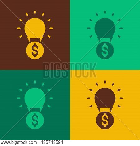 Pop Art Light Bulb With Dollar Symbol Icon Isolated On Color Background. Money Making Ideas. Fintech