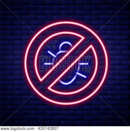 Glowing Neon Line Stop Colorado Beetle Icon Isolated On Brick Wall Background. Colorful Outline Conc