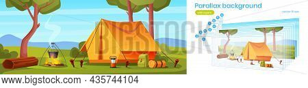 Parallax Background Camping Tent With Tourist Stuff In Forest 2d Landscape. Traveler Camp At Nature