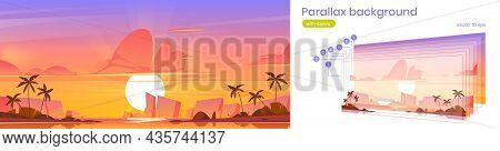 Sunset Sky In Ocean Parallax Background, Tropical Island 2d Landscape. Beautiful Cartoon Nature Scen